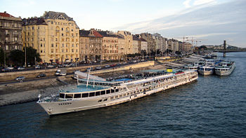 River cruise ships on the Danube in Budapest.