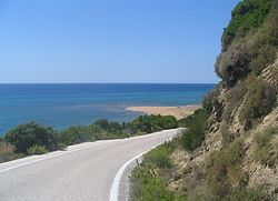A road in the southern part of Corfu island