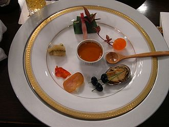 Tasting menu - The first course of a tasting menu in Ginza, Tokyo