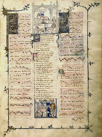 "Ars nova - Page of the French manuscript Livres de Fauvel, Paris, B.N. Fr. 146 (ca. 1318), ""the first practical source of Ars nova music""."