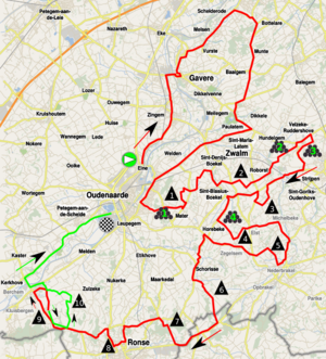 2014 Tour of Flanders for Women - Map of the Tour of Flanders for Women 2014. Final in green.