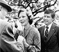Rosalynn Carter greeting people at a political rally for Bob Graham.jpg