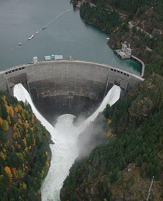 Ross Dam - Ross Dam during the Skagit River floods of 2003.