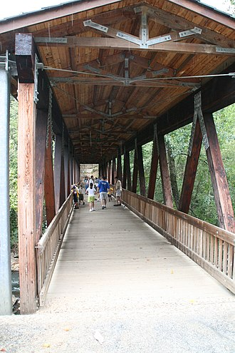 Chattahoochee River National Recreation Area - Covered bridge entrance to the Vickery Creek unit at the Roswell Mill Ruins (City of Roswell Park)