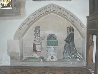 Steeple Barton - Monument to John Dormer (died 1581) and his wife, now at SS. Leonard and James, Rousham. It was in St Mary the Virgin's parish church at Steeple Barton until 1851