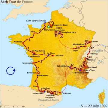 Route of the 1997 Tour de France