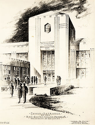 Roy G. Cullen Building - A preliminary drawing of the tower entrance to the Roy G. Cullen Building by its architect in 1938