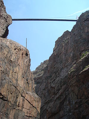 Royal Gorge - A view of the Royal Gorge Bridge, from below