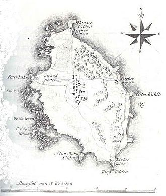 Ruhnu - A map of the Estonian island Ruhnu by Ludwig August von Mellin, Liivimaa atlas 1798