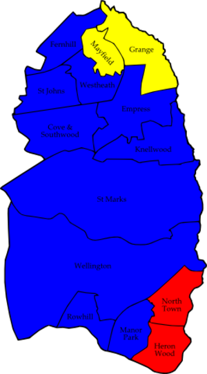 Rushmoor Borough Council elections - Image: Rushmoor 2007 election map