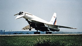 Russian Tu-144LL SST Flying Laboratory Takeoff at Zhukovsky Air Development Center.jpg