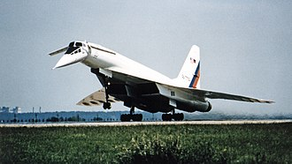 Tu-144LL as a research aircraft for NASA in 1997 Russian Tu-144LL SST Flying Laboratory Takeoff at Zhukovsky Air Development Center.jpg