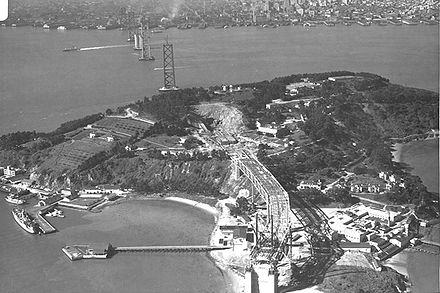 The Bay Bridge, under construction in 1935, took forty months to complete. SF-Oakland-Bay-Bridge-Construction.jpg