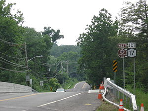 Seven Lakes Drive - The western terminus of Seven Lakes Drive in Sloatsburg.