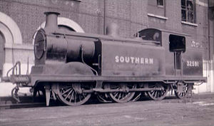 LB&SCR E5 class - LBSCR E5 class 0-6-2T built 1904. Photographed at Brighton 1948 carrying its British Railways number, but still in Southern Railway livery.