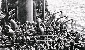 United Africa Company - Aboard Guinean in June 1940: some of the 3,600 men personnel repatriated from France in Operation Ariel