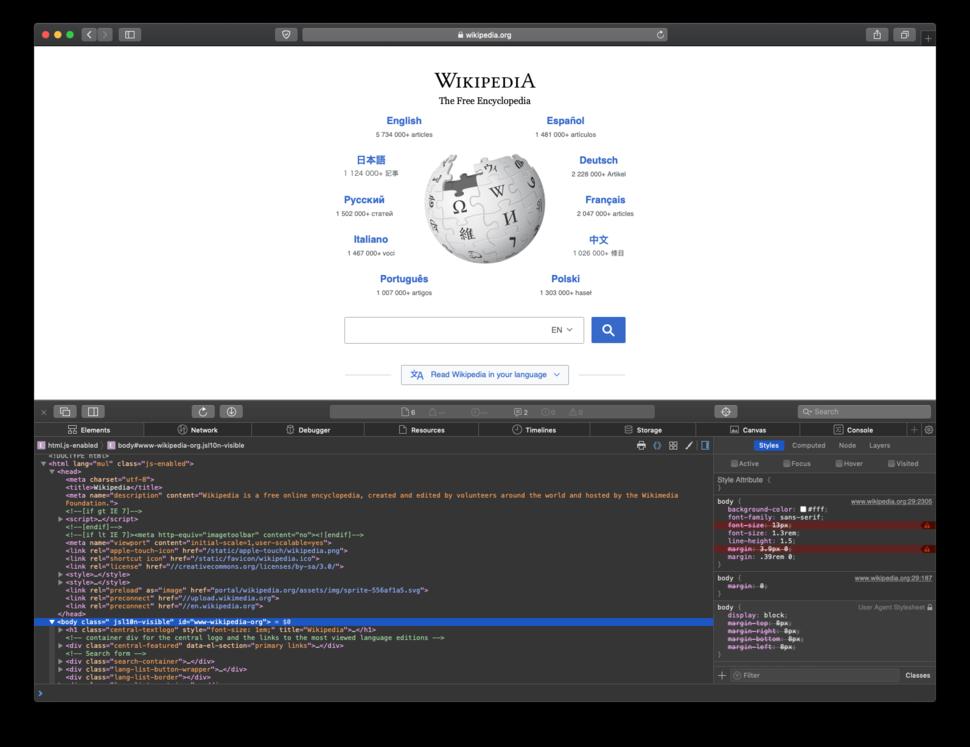 Safari 12 Web Inspector on macOS Mojave