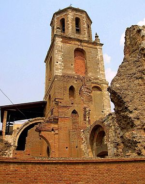 Beltrán de Risnel - The clocktower of the monastery of Sahagún. Beltrán had extensive relations with the monastery, even settling a lawsuit between it and the town. The anonymous chronicle of the monastery is an important source for Beltrán's early career.