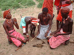 Samburu people - Samburu men lighting a fire