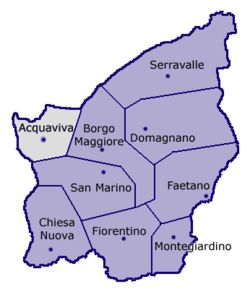 Location of Acquaviva within San Marino