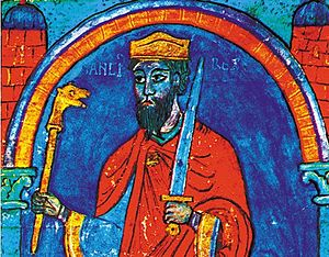 Sancho I of León - A miniature of Sancho I, from the Tumbo A in the Cathedral of Santiago de Compostela.