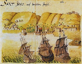 History of Cape Verde - A 1646 watercolour of Cidade Velha by Caspar Schmalkalden