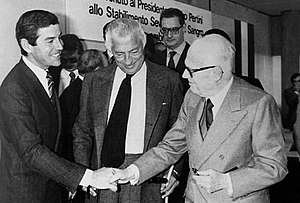Gianni Agnelli - Gianni Agnelli (in the center) and the FIAT board of directors meet President Sandro Pertini (at his right) during an official visit to the new Sevel Val di Sangro factory, 1981.