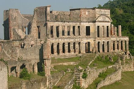 The ruins of the Sans-Souci Palace, severely damaged in the 1842 earthquake and never rebuilt Sans Souci Palace.jpg