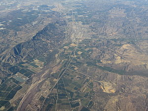Santa Paula, California - Santa Paula, California, the Santa Clara River and South Mountain from the air, 2015