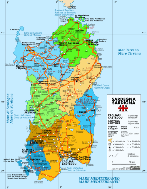 Administrative map with local toponyms. - Sardinia