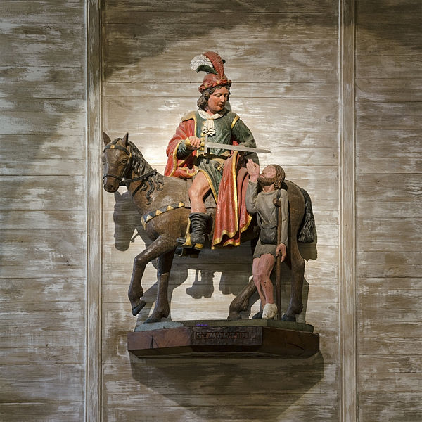 Equestrian statue of Martin of Tours and the beggar, 16th century - Chapelle Saint-Pierre, Saulges, Mayenne, France.