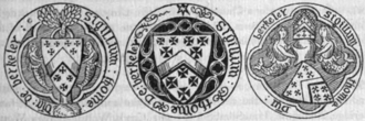 Thomas de Berkeley, 5th Baron Berkeley - Seals of Thomas Berkeley, 5th Baron Berkeley (d.1417), two with mermaid supporters, used at successive times of his life