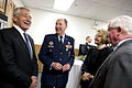 Secretary of Defense Chuck Hagel, left, shares a laugh with U.S. Air Force Gen. C. Robert Kehler, second from left, and members of Kehler's family Nov. 15, 2013, after a U.S. Strategic Command change of command 131115-D-BW835-1032.jpg