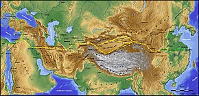 Map of Eurasia with drawn lines for overland routes