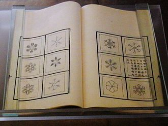 """Doi Toshitsura - """"Sekka zusetsu"""", Japanese book about snow crystal written by Doi Toshitsura in 1832. Exhibit in the National Museum of Nature and Science, Tokyo, Japan."""