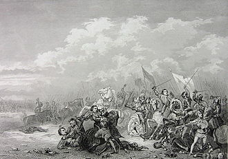 Battle of Seminara - Ferdinand II of Naples in peril at the height of the battle, only to be saved by a nobleman.  Illustration by an unknown 19th century artist.