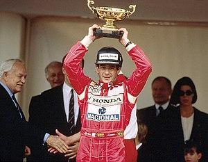 1992 Monaco Grand Prix - Ayrton Senna with Prince Rainier and Princess Stephanie.