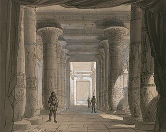 Philippe Chaperon - Image: Set design by Philippe Chaperon for Act 1 sc 2 of Aida by Verdi 1871 Cairo Gallica Restored