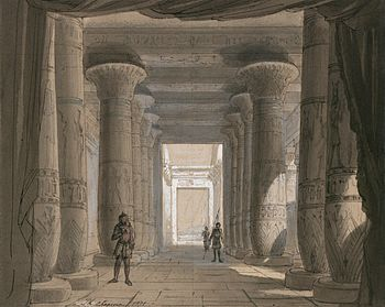 Set design by Philippe Chaperon for Act1 sc2 of Aida by Verdi 1871 Cairo - Gallica - Restored.jpg