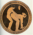 Sexual scene on a red-figure tondo of a kylix by the Wedding Painter
