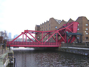 Shadwell - Shadwell Basin bascule bridge. (January 2006)
