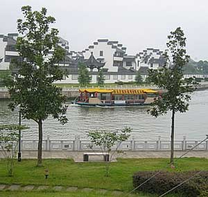 Shaoxing - A boat on one of Shaoxing's waterways, near the city center