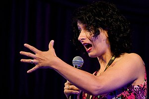 Shappi Khorsandi - Khorsandi performing at Latitude in 2009.
