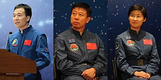Tiangong-1 - The three members of Shenzhou 9's crew. Liu Yang, China's first female astronaut, is shown on the right.