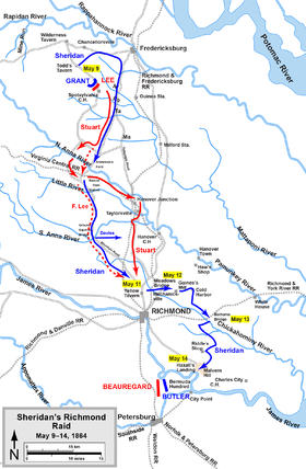 Carte du raid de Philip Sheridan en direction de Richmond avec l'emplacement du site de Yellow Tavern juste avant la ville.