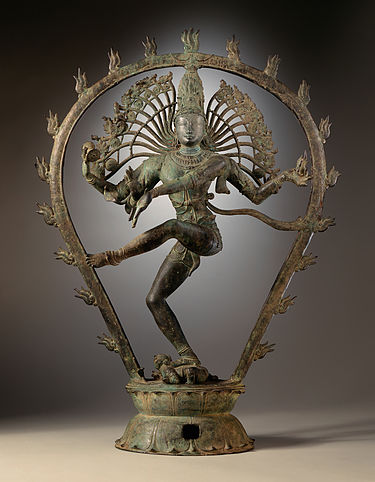Chola dynasty statue depicting Shiva dancing as Nataraja (Los Angeles County Museum of Art). Shiva as the Lord of Dance LACMA edit.jpg