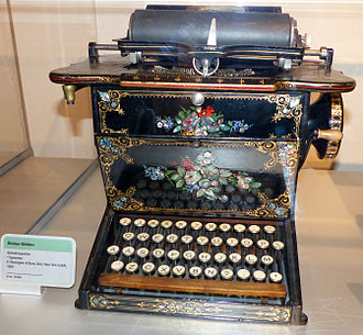Sholes and Glidden typewriter - A redesign incorporated floral ornamentation, a characteristic from Remington's sewing machine division.