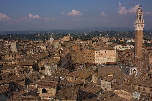 Siena, Campo, Torre del Mangia, view from Facciatone