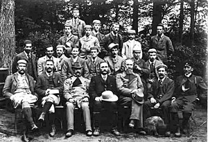 Conservation movement - Schlich, in the middle of the seated row, with students from the forestry school at Oxford, on a visit to the forests of Saxony in the year 1892.