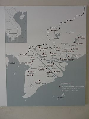 Óc Eo - This map shows the locations of archeological sites associated with Oc Eo culture.  It is located at the Museum of Vietnamese History, Ho Chi Minh City.